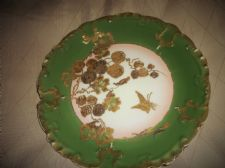 ANTIQUE LIMOGES GDA ORNATE HIGHLY GILDED PIPE LINED GREEN PLATE BUTTERFLY FLORAL